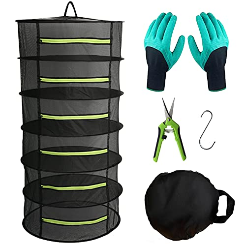Herb Drying Rack Hanging Dryer Mesh Drying Rack with Green Zipper, 2ft 6 Layer Plant Drying Rack Dry Net Pruning Shears, Hook, Garden Gloves for Herb, Flowers, Bud, Seeds, Nuts (24'x47')
