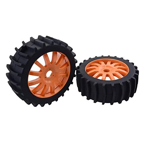 LIZONGFQ RC Buggy Rubber Tire RC 1: 8 Juego de neumáticos de llanta de Rueda de Coche Adecuado para Muchos Coches RC - Naranja, como se Describe ( Color : Orange , Size : As described )