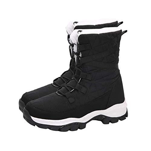 Damenstiefel, Winter Damen Casual Outdoor Verdicken Warme Wandersport Schneeschuhe High-Top Schuhe Schwarz 39