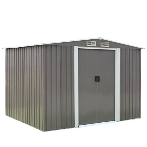 Kinsuite 8' x 6' Outdoor Backyard Storage Shed Metal Garden Utility Heavy Duty Tool House W/Sliding Door, Store Patio Furniture, Yard Tools and Pool Toys, Grey