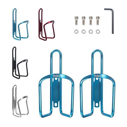 Hobein Sports 2er Set Fahrrad Flaschenhalter, Aluminium Trinkflaschenhalter Rennrad Getränkehalter - 4 Schrauben & Werkzeug (Blau)
