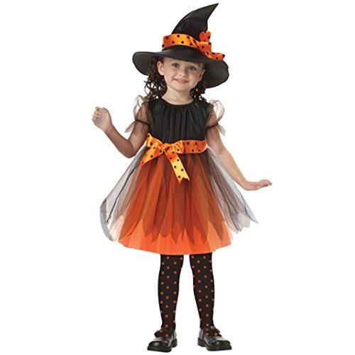 Baby Kleider,Sannysis Kinder Baby Mädchen Halloween Kleider Kostüm Kleid Partei Kleider + Hut Outfit 2-15Jahre (130, Gelb)
