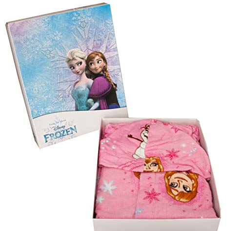 Albornoz con capucha original de Disney Frozen de los años 2, 3, 4, 5, 6, 7, 100 % rizo de puro algodón, para niña