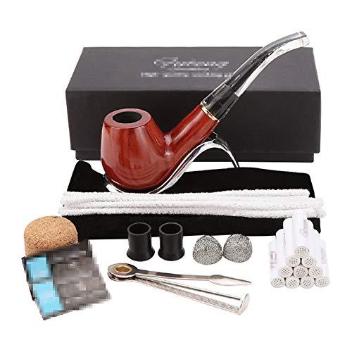 Pipa De Tabaco, Paquete Completo De Accesorios para Pipas, Porta Cigarrillos con Filtro De 9 Mm Desmontable, Tubo De Escape Blanco