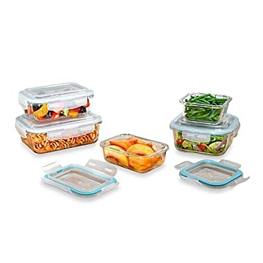 ProGlass 10-Piece Tempered Glass Food Storage Set With BPA-Free Plastic Easy Snap Lids, Freezer, Microwave And Dishwasher Safe