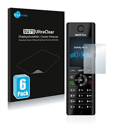 Savvies 6X Schutzfolie kompatibel mit AVM Fritz!Fon C5 Displayschutz-Folie Ultra-transparent