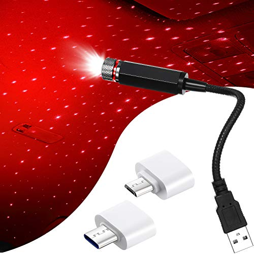 Luz de Estrella Romántica USB, Luz Nocturna USB de Proyección de Estrella, Luz de Atmósfera de Ángulo Ajustable Portátil Flexible para Decoración de Coches Casas Fiestas Techo (Rojo)