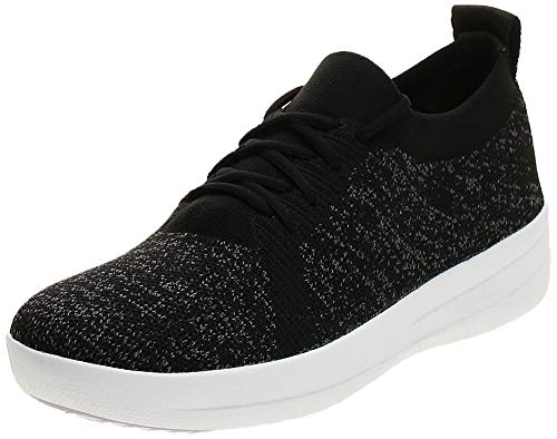 FitFlop Women's F-Sporty Uberknit Sneakers, Black, 11 M US