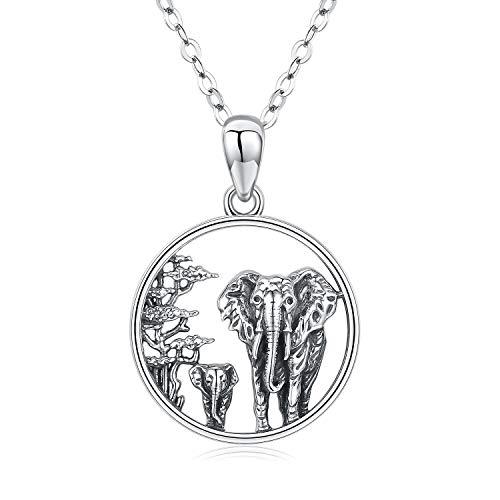 Kette Elefant Damen Halskette 925 Sterling Silber Lucky Tier Anhänger Halskette Elefant Schmuck MuttertagsGeschenk für Mutter Frauen