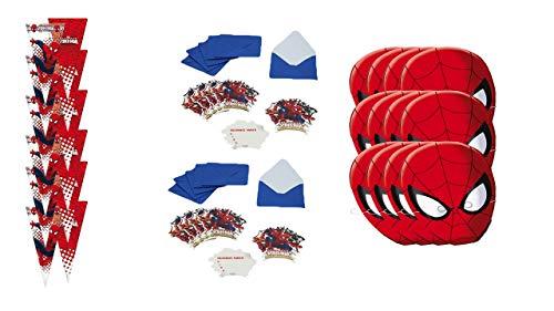 ALMACENESADAN 2429; Party Pack und Geburtstag Spiderman; bestehend aus 12 Einladungen, 12 Masken und 12 Taschen