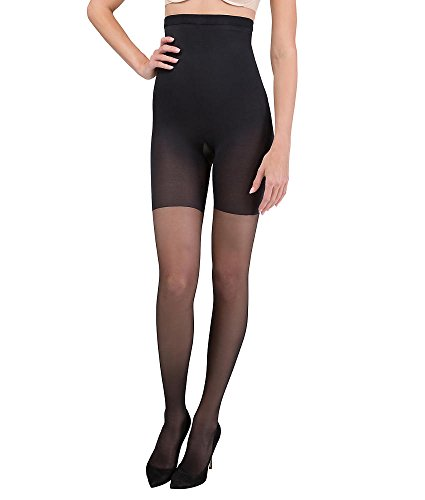 ASSETS Red Hot Label by SPANX Firm Control High-Waist Pantyhose Thin Leggings, Very Black, 4