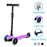 Kids Kick Scooters for Toddlers Boys Girls Ages 2-5 Years Old, Adjustable Height, Extra Wide Deck, Light Up Wheels, Easy to Learn, 3 Wheels Scooters, Pink