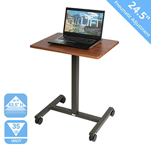 Seville Classics AIRLIFT Pneumatic Laptop Computer Mobile Desk Cart Height-Adjustable from 29.3' to 43.5' H, 24', Maple