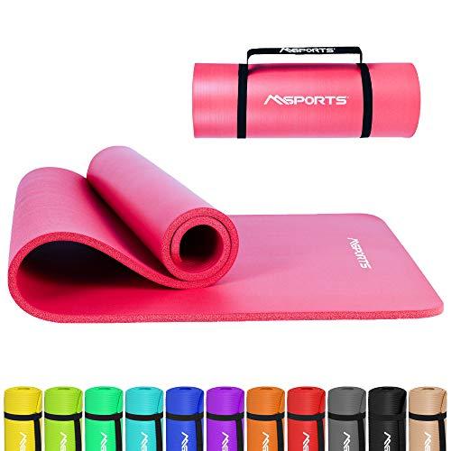 Gymnastikmatte Premium inkl. Tragegurt + Übungsposter + Workout App I Hautfreundliche Fitnessmatte 190 x 60 x 1,5 cm - Pastellpink - Phthalatfreie Yogamatte