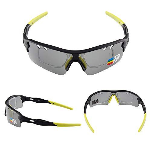 WOXING Correr para Los Hombres Mujer Gafas,HD Antideslumbrantes Moda Gafas,Ciclismo Vintage Polarizadas Aire Libre Deportes Gafas De Sol, Clásico Protección UV Gafas-F 15.2x4.8cm(6x2inch)