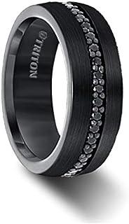 Triton Ring Comfort Fit Black Tungsten All Around Black Sapphire Band
