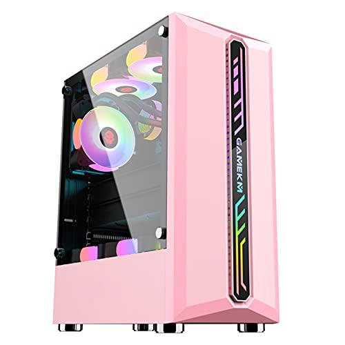 Estuche ATX Estuche Para PC De Torre Media, Estuche Refrigerado Por Agua Para Juegos Transparente De Lado Completo De Vidrio De Escritorio, Con Barra De Luz Que Cambia De Color RGB ( Color : Pink )