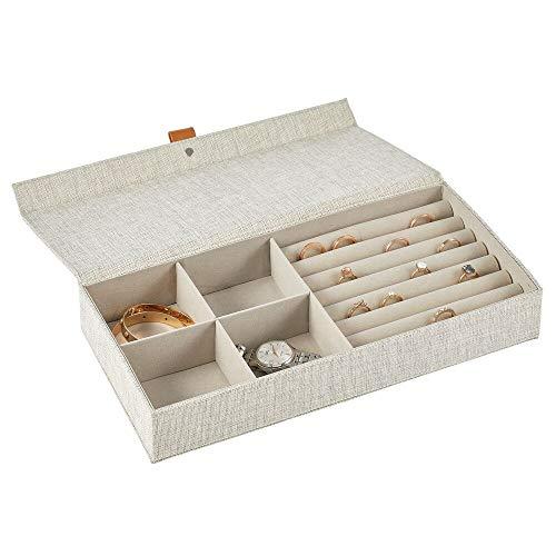 mDesign Joyero – Caja con tapa con 4 compartimentos y soportes de tela para anillos – Cajas organizadoras para pendientes, collares, pulseras y anillos – gris claro