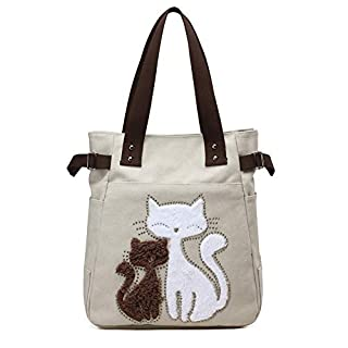 scheda mingze canvas handbag, shopping bag donna borse a mano gatto carino tela borse a spalla tote sacchetto borse da shopper (bianco)