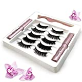 Magnetic Eyeliner and Lashes Kit, SUNSENT 5/10 Pairs of 3D Reusable Magnetic Eyelashes and 2 Tubes of Magnetic Eyeliner with Tweezers Gift Box,Waterproof and Smudge Proof