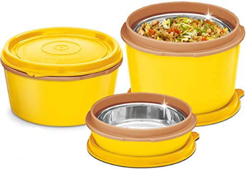 MILTON Bento Lunch Box Set - 3 MICROWAVEABLE Stainless Steel Meal Prep...