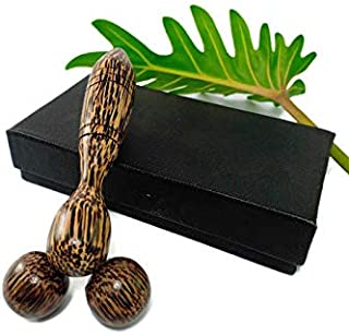 eyesonme Thai Traditional Reflexology Palm Wood Roller Ball Massager Tool Hand Head Face Body Relax Relief Muscle Stress Trigger Point Therapy