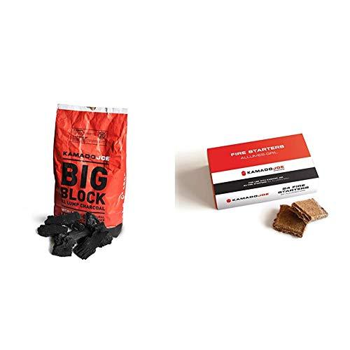Kamado Joe KJChar Big Block XL Lump Charcoal 20Pound Black amp Joe KJFS Fire Starters 24 Counts