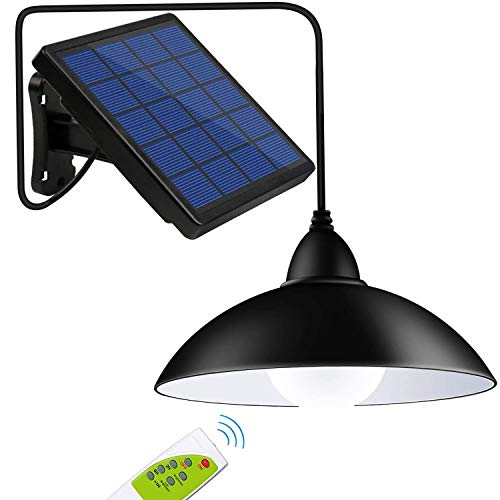 Solar Powered Pendant Lights, Awanber 12 LED (Equivalent to 50W Incandescent Brightness) Waterproof Remote Control Indoor Outdoor Hanging Lamp for Garden, Garage, Pathway, Yard, Patio, Lawn, Balcony