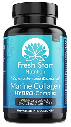 Marine Collagen Tablets 1000mg - 90 Premium Type 1 Hydrolysed Collagen Capsules with Hyaluronic Acid, Vitamin C, E, B2, Biotin, Zinc, Copper and Iodine - Made in The UK by Fresh Start Nutrition