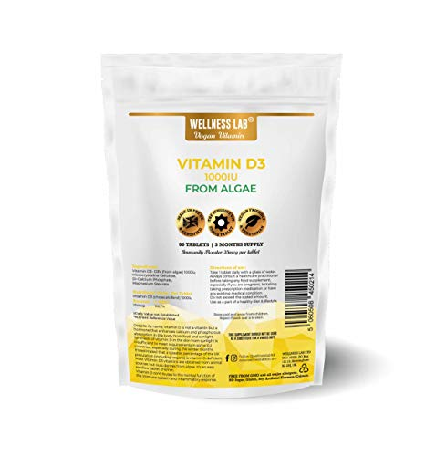 Vegan Vitamin D3 | 1000IU | from Algae | 90 Tablets | 3 Months