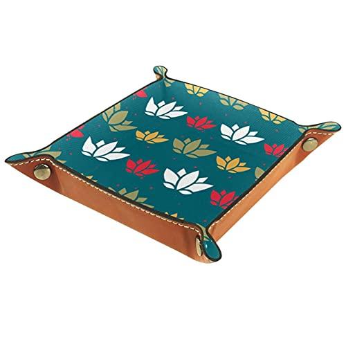 Bandeja de Valet de Cuero, Bandeja de Dados Plegable para el Soporte Cuadrado Plegable, Placa de Organizador de la cómoda para Cambiar la Llave de la Moneda, la Naturaleza Japonesa Verde Lotus Flor