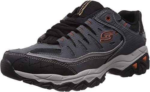 Skechers Sport Men's Afterburn Memory Foam Lace-Up Sneaker, Charcoal, 10 4E US
