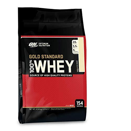 Optimum Nutrition ON Gold Standard 100% Whey Proteína en Polvo Suplementos Deportivos, Glutamina y Aminoacidos, BCAA, Helado de Vainilla, 146 porciones, 4.54 kg, Embalaje puede variar