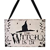 TINKSKY Halloween Welcome Sign Hanging Tag with Witch Hat Pattern Decoration Props for Door Window Bar Shopping Malls Halloween Decorations