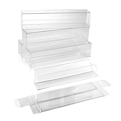 100 Chocolate Candy and Truffle Gift Boxes with Inserts (1.38 x 1.44 x 6.25 Inch) - FDA Safe Food Storage Containers - Clear Plastic Box for Christmas, Wedding, Parties BOX1-3/8x1-7/16x6-1/4