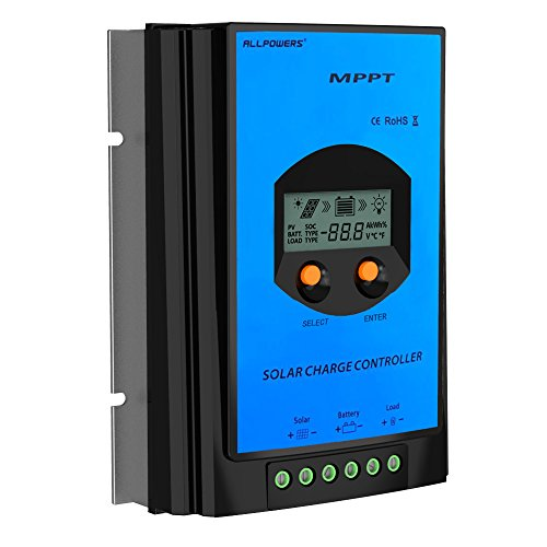 ALLPOWERS 30A MPPT Solar Charger Controller Regulator 100V Input Tracer for Solar Panel Battery with LCD Display 12V/24V