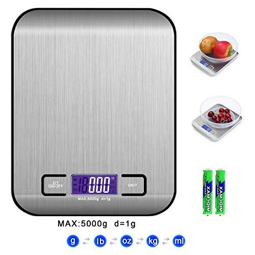 QUNPON Digitale Elektronische Küchenlebensmittelwaage, Küchenwaage mit LCD Display-wunderbare Präzision auf bis zu 1g(5kg Maximalgewicht)