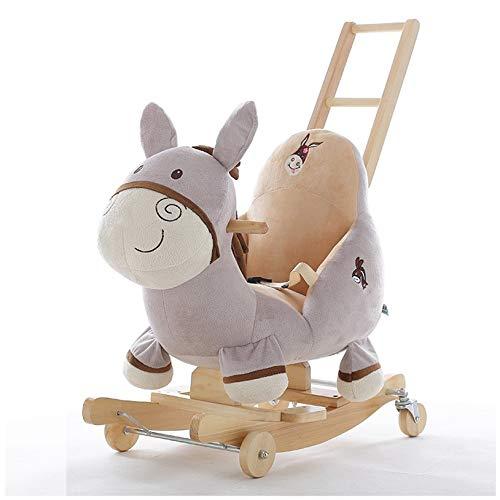 NXYJD Niedliche Karikaturkinder Dual-Use-Musik Schaukelpferd Baby Spielzeug kleines Holzpferd Baby Massivholz Wiege Geburtstagsgeschenk