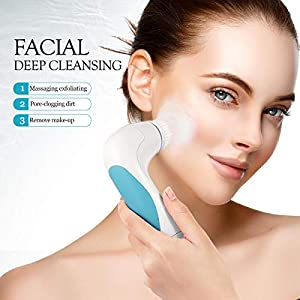 【New Version】ETEREAUTY Facial Brush Waterproof Body Facial Cleansing Brush Spin Brush for Deep Cleansing, Gentle Exfoliating and Removing Blackhead with 5 Brush Heads