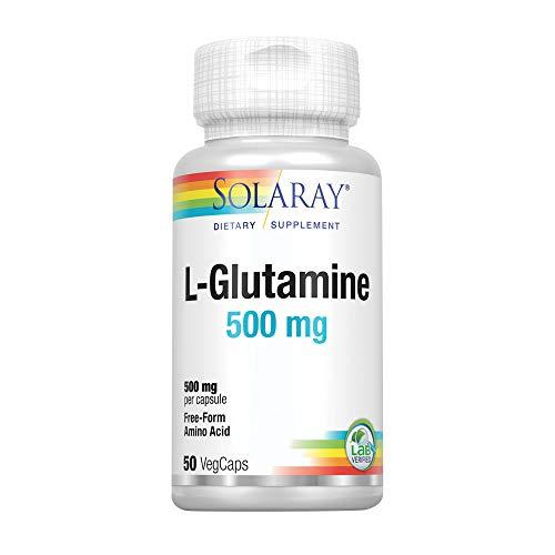 Solaray L-Glutamine 500mg | Recuperación muscular saludable, apoyo gastrointestinal e inmunológico | Sin Gluten | Apto Para Veganos | 50 VegCaps