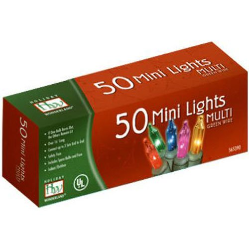 Noma/Inliten-Import 50 Count Multi Color Light Set 4051-88 Christmas Lights Miniature End To End