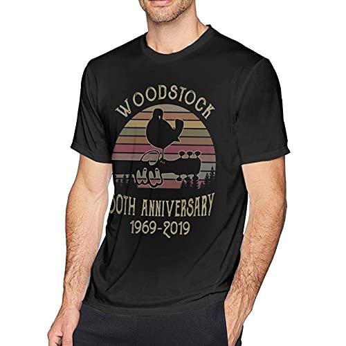 DJNGN Woodstock 50th Anniversary 1969 2019 Camiseta de Manga Corta con Cuello Redondo a la Moda para Hombre