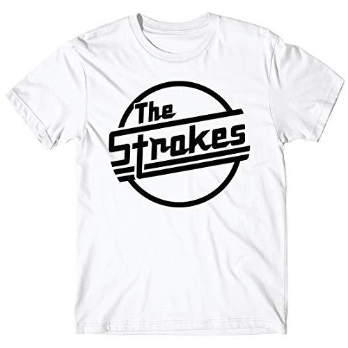 LaMAGLIERIA Camiseta Hombre The Strokes Classic Logo Black Print - Camiseta 100% algodòn, M, Blanco