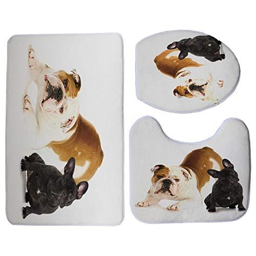 MYSdd Lindo Estampado de Bulldog Francés Negro 3 unids/Set Funda de Asiento de Inodoro baño Interior Antideslizante Alfombra de Piso de Lana de Coral decoración de baño - 9
