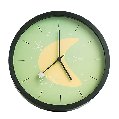 Sputnik Silent Retro Wall Clock, Non Ticking Mid Century Wall Clock, Vintage Outer Space Decor, Battery Powered - 10 Inch