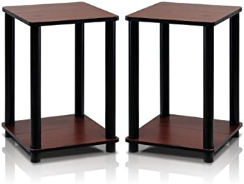 Set Of 2 Furinno Turn-N-Tube End Table Corner Shelves
