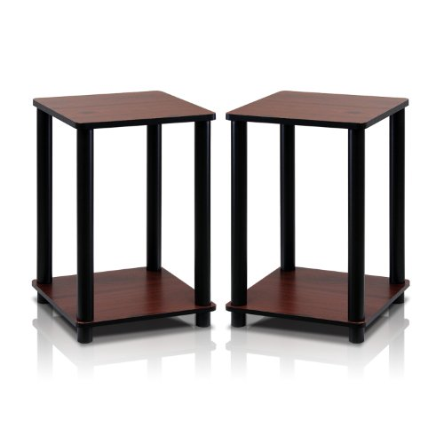 Furinno Turn-N-Tube End Table Corner Shelves, Set of 2, Dark Cherry/Black