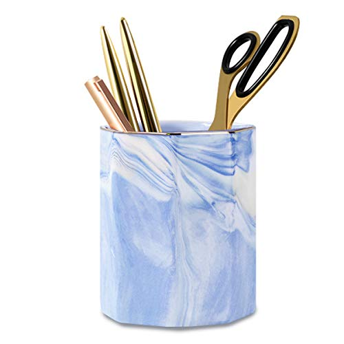 WAVEYU Pencil Holder Cup, Pen Organizer Stand for Desk Cute Marble Pattern Pen Cup Durable Ceramic Desk Organizers Makeup Brush Holder Cup for Office, Classroom, Home, Blue Marble