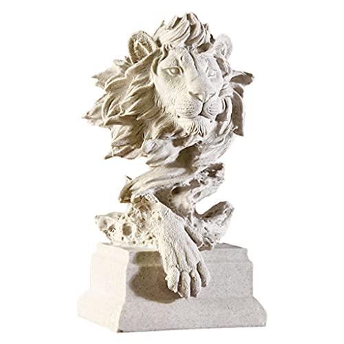 Gazechimp Löwe Statue, Löwen Skulptur Dekoration aus Harz, Moderne Figur Statue Deko für Haus Dekoration, Wohnzimmer, Schlafzimmer, Büro, Weinschrank, Kreative Geschenk, 7,5x5,9x12,6 Zoll, Weiß