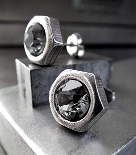 Mens Hex Nut Stud Earrings with Swarovski Crystal, Silver Plated Hardware Jewelry